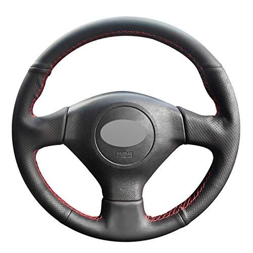 Funda de Volante Cosida a Mano Cubierta de Volante de Coche de Cuero Negro PU DIY, para Subaru Legac
