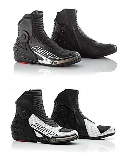 RST Boots Tractech Evo III Herren-Motorradstiefel, CE-geprüft, bequem, für Rennsport, Touring, kurze Stiefel 58 weiß/schwarz