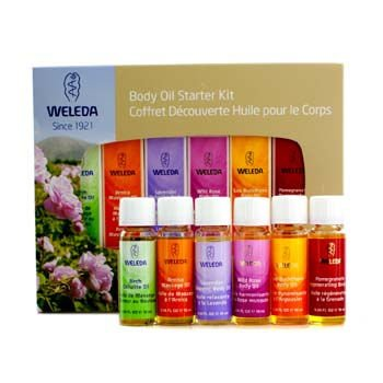 Weleda–Aceite corporal Starter Kit: 6x aceite corporal (abedul, Arnica, lavanda, Wild Rose,...