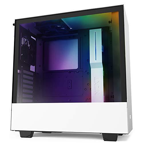 Nzxt H510I - Case da Gioco per PC Mid-Tower Atx Compatto - Porta Tipo C USB I/O Frontale - Montaggio Gpu Verticale - Pannello Laterale in Vetro Temperato - Illuminazione Rgb Integrata, Bianco/Nero