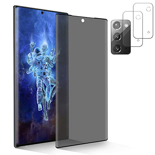 [1+2] Tempered Glass for Samsung Galaxy Note 20 5G Privacy Screen Protector + Camera Lens Protector [Anti Spy] [Touch Sensitive] [9H Hardness & Anti Scratch] [No Bubble] Case Friendly (6.7 Inch)