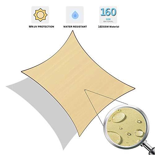 Myan Sonnensegel, UV-Schutz, rechteckig, wasserabweisend, mit gratis Seil für Outdoor-Aktivitäten und Aktivitäten, 3 Farben und 5 Größen, sand, 3 x 3 m
