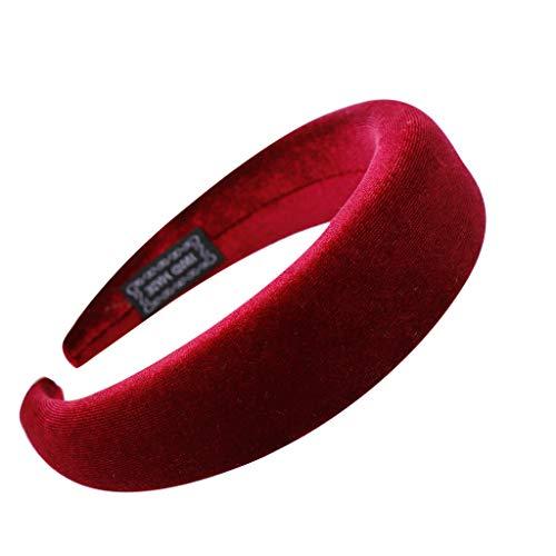 YWLINK Mode Samt Sport Haarband Volltonfarbe Damen Haar Kopfband Einfache SüßE MäDchen Stirnband(A Weinrot,)