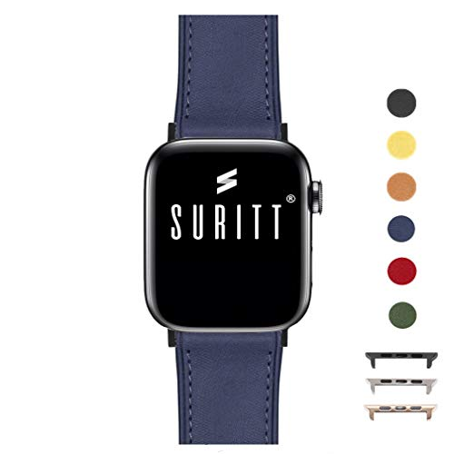 Suritt ® Correa para Apple Watch de Piel Rio (6 Colores Disponibles). 3 Colores de Hebilla y Adaptador para Elegir (Negro - Plata - Oro)(Series 1, 2, 3, 4 y 5). (42mm / 44mm, Midnight Blue/Black)