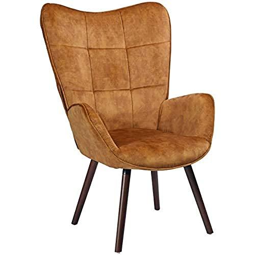 Sessel Lounge Relaxstuhl Polstersessel Lesesessel Armlehnstuhl Stuhl mit Rückenlehne Massivholz Stoff Kissen Braun, Bogdan Mustard Dark Wood Leg