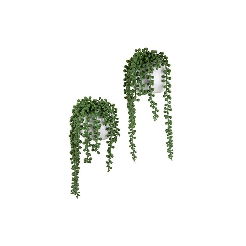 silk flower arrangements mygift artificial string of pearls plants in white ceramic wall-hanging planters, set of 2