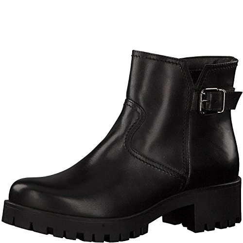 Tamaris Damen Biker Boots 25405-21,Frauen Stiefel,Stiefelette,Halbstiefel,Bikerstiefelette,Bootie,hoch,Blockabsatz 4cm,Black,EU 37