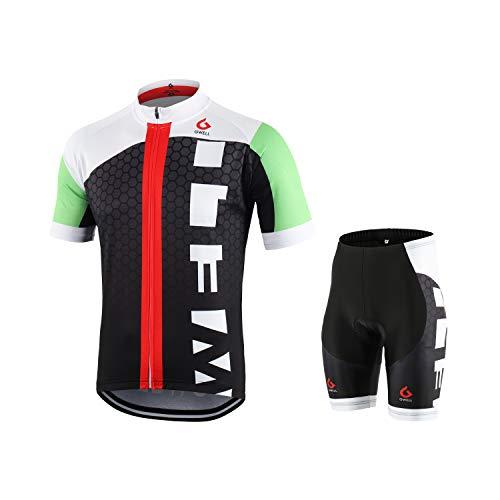 GWELL Männer Fahrradtrikot Set Fahrradbekleidung Atmungsaktiv Fahrrad Trikot Kurzarm + Radhose mit 3D Sitzpolster Schwarz XL
