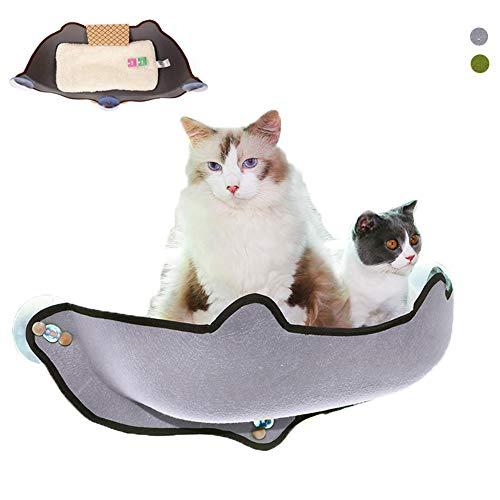 ZWW Katten vensterbank, wandgemonteerde kattenhangmatstoel Eva zonniges kattennestbed met zuignap en matras voor katten tot 10 kg