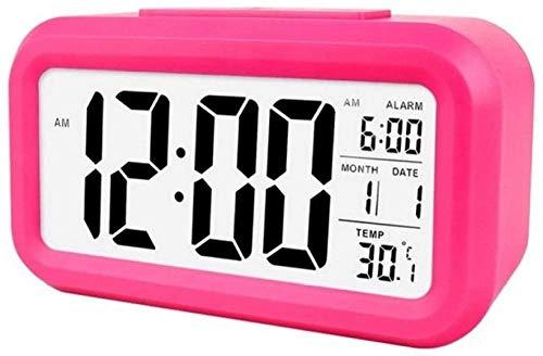 Pantalla de Reloj Despertador con Calendario para la Oficina en casa Reloj de Mesa Snooze Reloj electrónico para niños Relojes Digitales de Escritorio LED Blanco-Rosa roja
