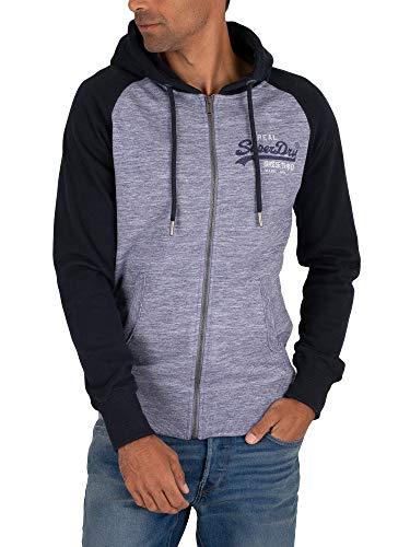Superdry Herren VL Premium Goods Ziphood Sweatshirt, Blau (Mist Blue Space Dye 3DH), X-Large