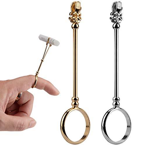 AIEX 2 Stück Zigarettenspitzenring Dame Elegant Ring Zigarette Schützen Ihren Finger Raucher Haltering für Männer und Frauen (Gold und Silber)