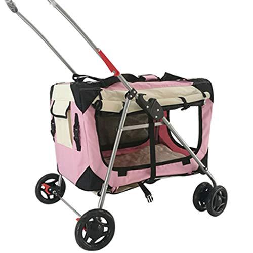 Pet Jogger Kinderwagen for Hunde und Katzen - All Terrain, leicht, tragbar und bequem for Ihre Lieblingshunde (Color : Pink)