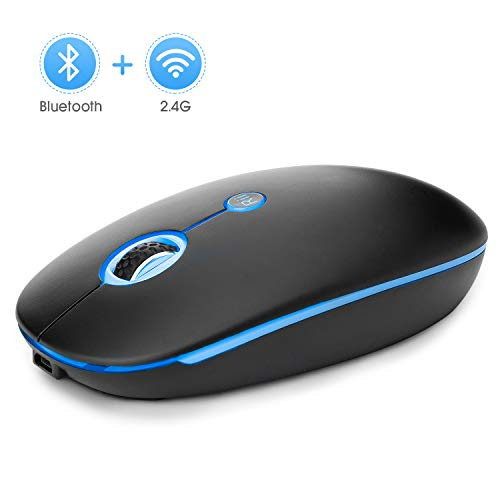 Bluetooth Mouse,Rii RM300 Slim Rechangable 2.4GHZ Wireless and Bluetooth Mouse,Optocal Mouse with USB Receiver,with Backlit for Windows/MacBook pro MacBook Air/iMac/Laptop/Notebook/Ipad/iPhone