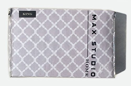 Max Studio Home Gray White Moroccan Tiles Medallion Print Quatrefoil Cotton Sateen Luxury King Sheet Set 300tc