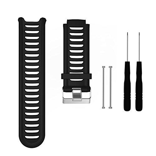 AUTRUN Band for Garmin Forerunner 910XT Watch, Silicone Wristband Replacement Watch Band for Garmin Forerunner 910XT (Black)
