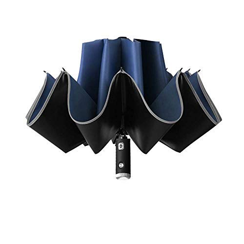 Parapluie inversé à LED avec bande réfléchissante, 2020 parapluie automatique pliable avec bandes réfléchissantes, C (Bleu) - qwr-541