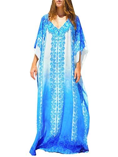 FSMO Elegante poncho de playa para mujer, estampado étnico, caftán ahumado, maxivestido azul blanco Talla única