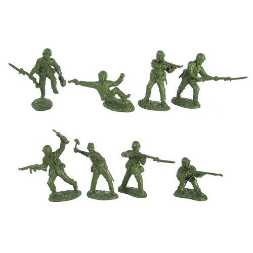 WWII United States Marines Plastic Green Army Men: 16 piece set of 54mm Figures - 1:32 scale by Toy Soldiers of San Diego