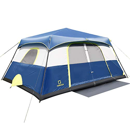 QOMOTOP Camping Tent for 10 Person, Instant Set-Up Within 1 Minute, 14'x10' Cabin Tent with Rain-Fly and Carry Bag, IP60 Waterproof Due to 600mm PU Coating Material, Blue …