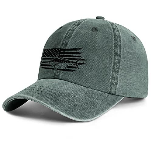Fish Flag Denim Dad Hats for Men Women-Novelty Fishing Sun Cap Snapback Adjustable