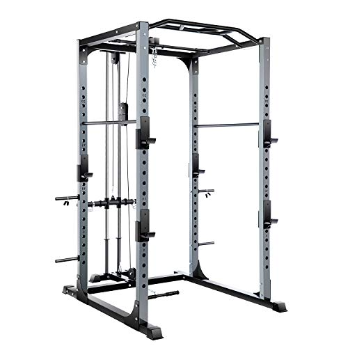 Vanswe Power Rack 1300-Pound Capacity Olympic Power Cage with LAT Pull Attachment, J-Hooks