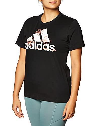 adidas W Floral T T-Shirt für Damen L Schwarz