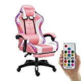 Auto Full Silla Gaming Ergonómica, Gaming Chair Adultos Racing Computer Chair Con Led Bluetooth, Silla De Juego Gaming Altura Regulable, Respaldo Reclinable,Pink