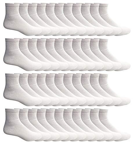 SOCKS'NBULK 60 Pairs Wholesale Bulk Sport Cotton Unisex Crew Socks, Ankle Socks, Value Deal (Mens - White Ankle)