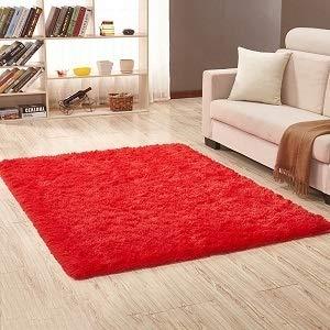 Alfombra de pelo sintético para sala de estar, hogar, felpa, mullida, para habitación de los niños, alfombra sedosa (color: rojo vino, tamaño: 80 x 160 cm)