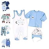 Baby Sweets 3er Baby-Set mit Strampler, Shirt & Mütze für Jungen in Weiß Blau/Baby-Erstausstattung als Strampler Set im Mond-Sterne-Motiv für Neugeborene & Kleinkinder in der Größe: 6 Monate (68)