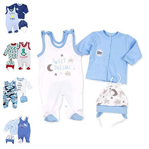Baby Sweets 3er Baby-Set mit Strampler, Shirt & Mütze für Jungen in Weiß Blau/Baby-Erstausstattung als Strampler Set im Mond-Sterne-Motiv für Neugeborene & Kleinkinder in der Größe: 3 Monate (62)