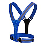 Amagogo LED Reflective Safety Vest - Elastic and Adjustable Reflective Running Gear for Outdoor Sports Dog Walking Cycling Motorcycle - Blue