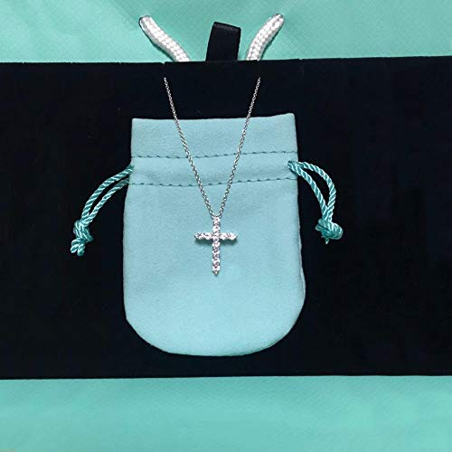 XKMY Joyería para mujer, collar de plata de ley 925, cruz, gemas blancas, para fiesta, color verde, longitud: 45 cm