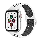 AdMaster Compatible with Apple Watch Bands 38mm 40mm,Soft Silicone Replacement Wristband Compatible with iWatch Series 1/2/3/4 - M/L White/Black