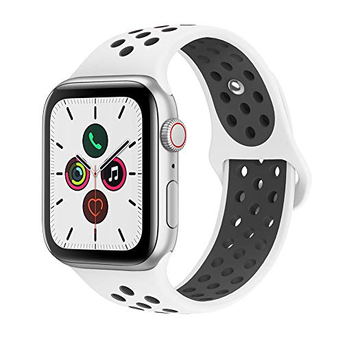 AdMaster Compatible with Apple Watch Bands 38mm 40mm,Soft Silicone Replacement Wristband Compatible with iWatch Series 1/2/3/4 - S/M White/Black