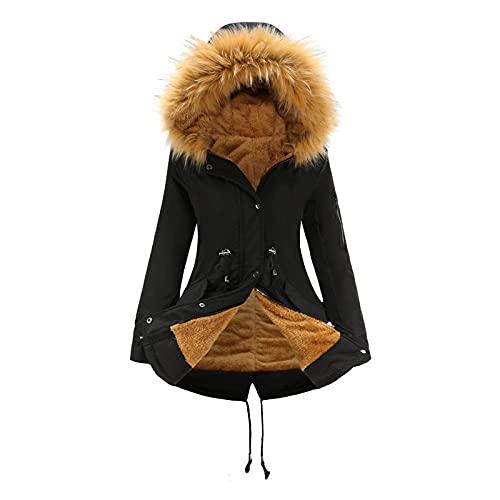 MYYYYI Parka de Mujer de Longitud Media con Capucha de Invierno cálido más Chaqueta de Forro Polar 6- XXXL