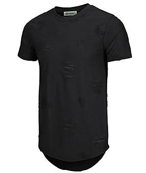 KLIEGOU Mens Hipster Hip Hop Ripped Round Hemline Hole T Shirt 1705   Large Black