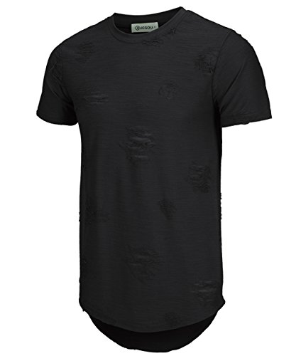 KLIEGOU Mens Hipster Hip Hop Ripped Round Hemline T Shirt (Small, Black)