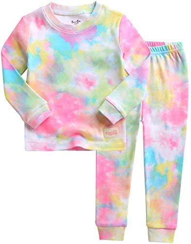 VAENAIT BABY Kids Junior 100% Cotton Sleepwear Pajamas 2pcs Set Tiedye-Rainbowneonpink-249 XL