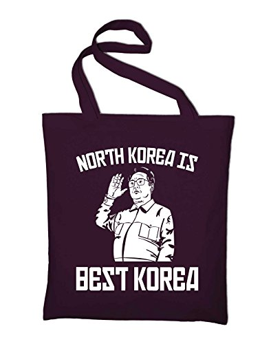 North Korea Is Best Korea Fun Jutebeutel Baumwolltasche, maroon