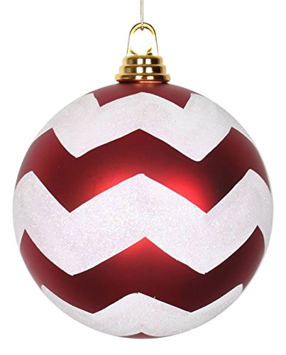 Vickerman Red Matte with White Glitter Chevron Commercial Size Christmas Ball Ornaments 6' (150mm)