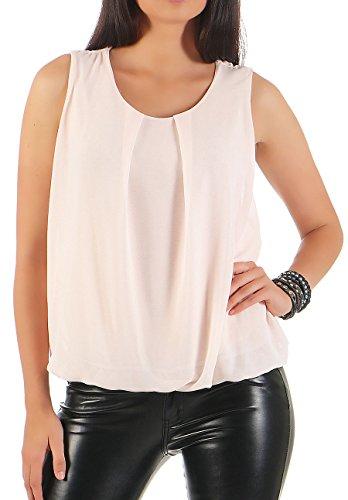 Malito Damen Bluse ärmellos | Tunika mit Rundhals | leichtes Blusenshirt | Elegant - Shirt 6879 (rosa)