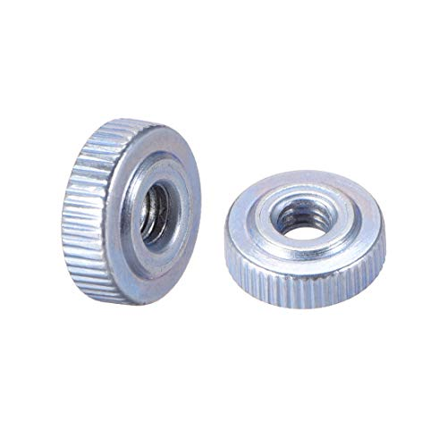 uxcell Round Knurled Thumb Nuts Conector Lock Adjusting Nuts, M4 Female Threaded Thin Type, Blue Zinc Plating, Pack of 10