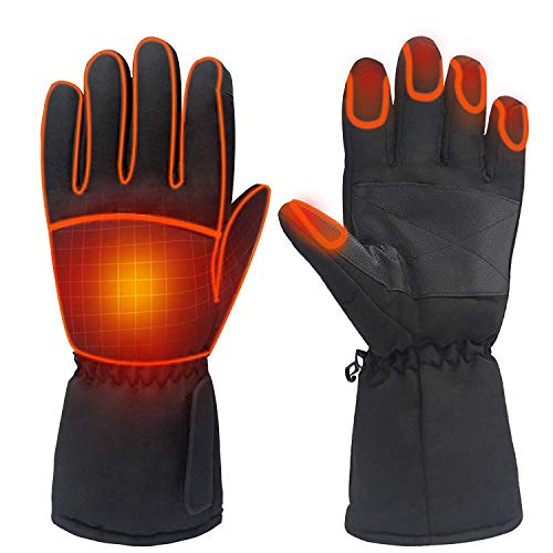 FLYEER Beheizte Handschuhe, wasserdichte Thermo-Heizhandschuhe für Herren/Damen, Touchscreen-warme Handschuhe für Outdoor-Sport, Radfahren, Motorrad, Wandern, Skifahren, Bergsteigen (schwarz)