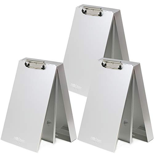 3 Pack of Think2Master Aluminum Dual Storage Clipboard. Durable & Sleek. Dual Tray Compartments Provides More Storage and Sturdiness and it Holds 300 Letter Sized Paper, Low Profile Clip 50 Paper.