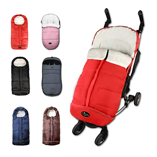 CozyMe Universal Winter Stroller Footmuff,Waterproof Toddler Travel Gear Sleeping Bag, Anti-Slip,Length Extendable,Multifunction Use Bunting Bag for 6-36M,Red