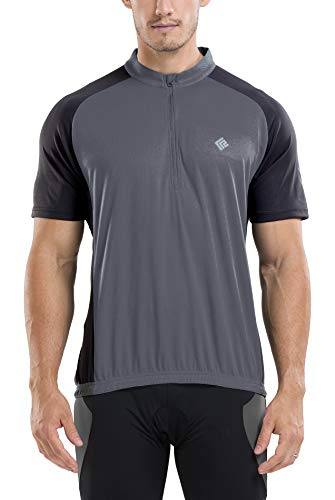 KORAMAN Men's Reflective Short Sleeve Cycling Jersey with Zipper Pocket Quick-Dry Breathable Biking Shirt (Gray, 3XL)