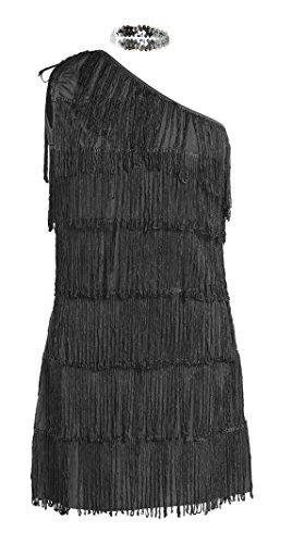 Costume anni 20 da Charleston, firmato Emma's Wardrobe – Include Vestito nero con frange, Fascia, Boa di piume bianche - Costume Charleston per Halloween e Spettacoli – Alta qualità – Taglie EUR 34-36
