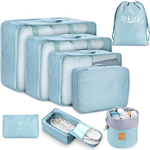 Packing Cubes for Travel, 8Pcs Travel Cubes Set Foldable Suitcase Organizer Lightweight Luggage Storage Bag (Blue)